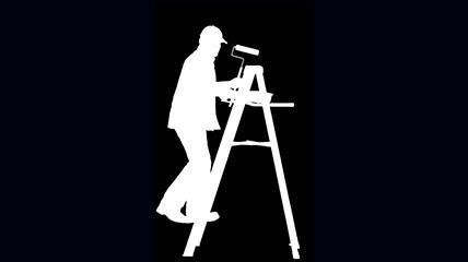 白色刷漆工工作人影素材