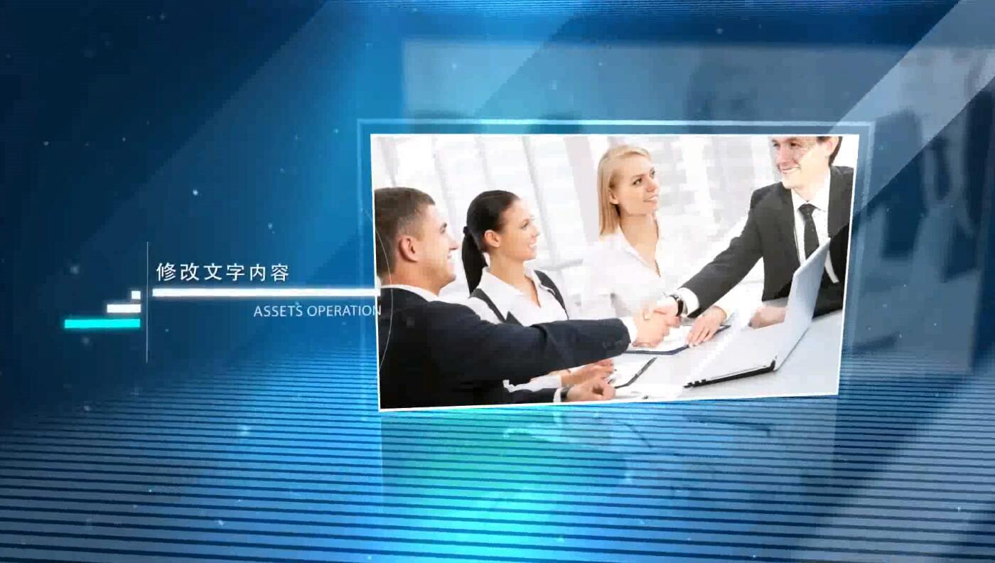 大气蓝色科技三维空间照片图片展示企业产品商务金融宣传片AE模版