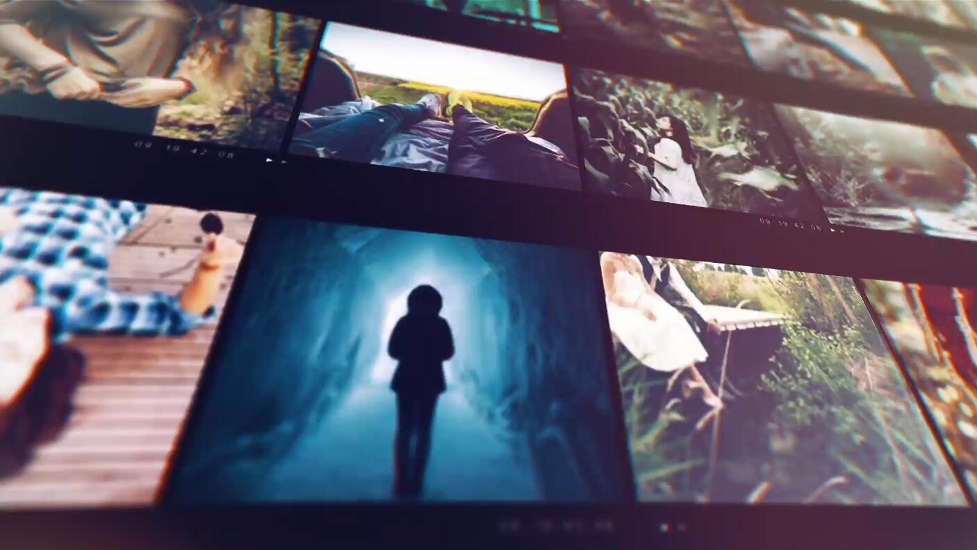 多画面照片视频墙家庭爱情片头ae模板