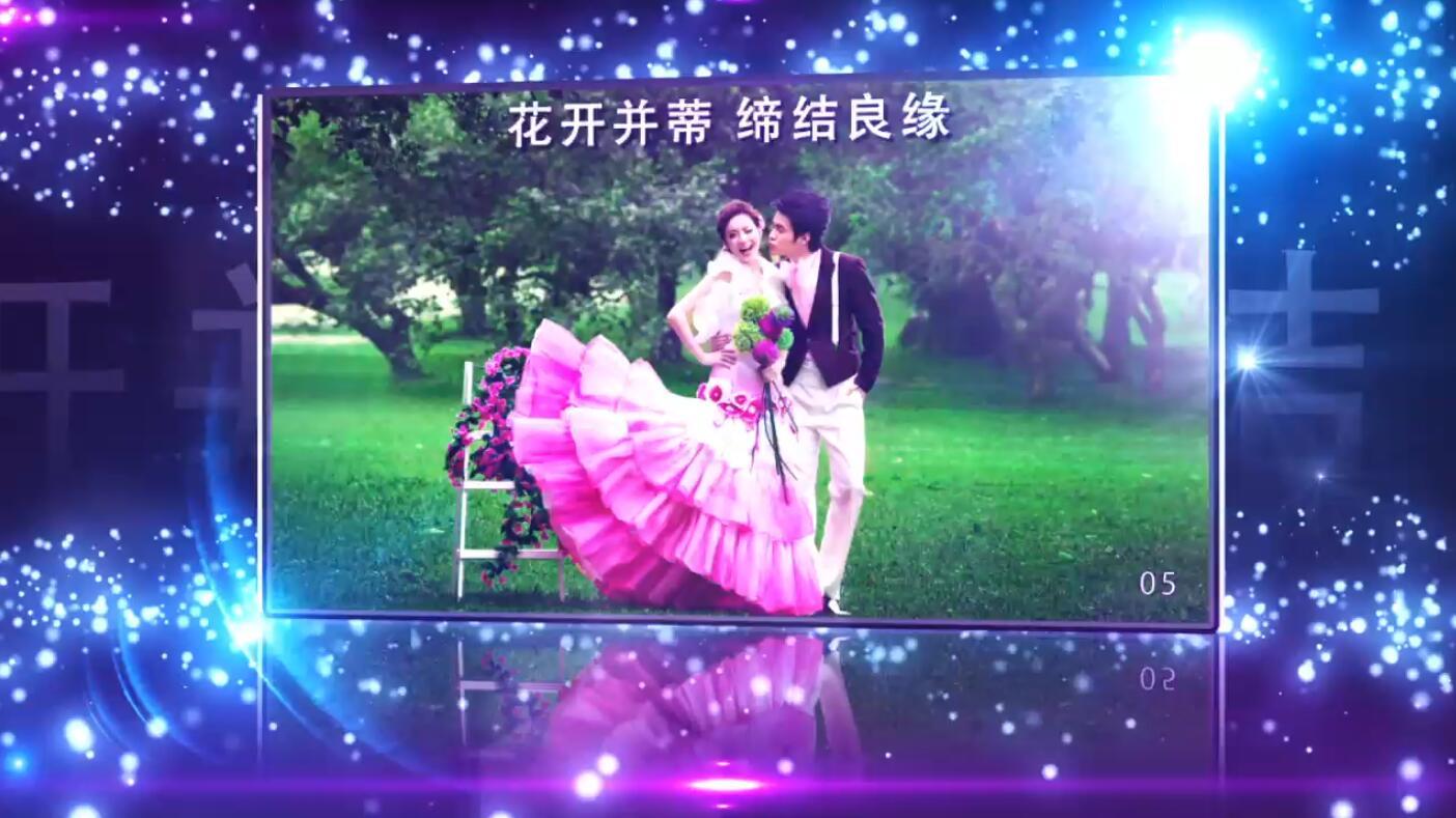 紫蓝色婚礼爱情相册图文展示AE模板