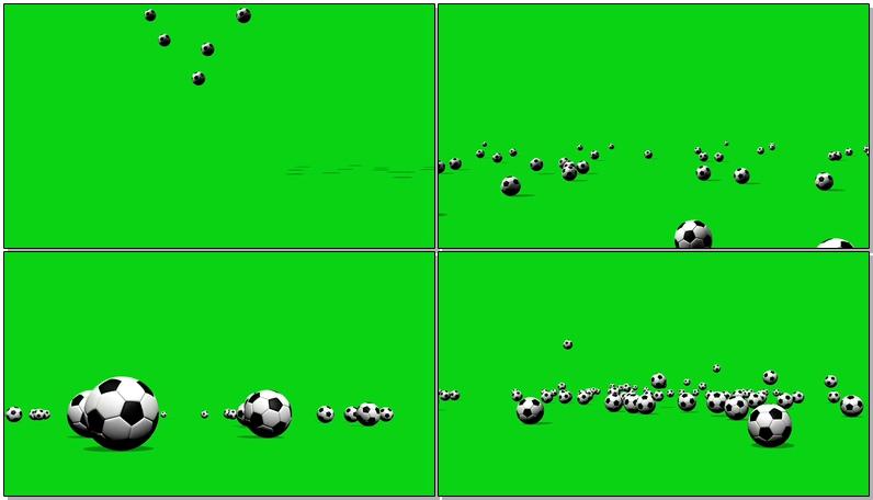 绿屏抠像散落在地上的足球