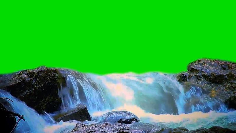 绿屏抠像小溪瀑布