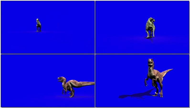 绿屏抠像袭击人群城市的恐龙