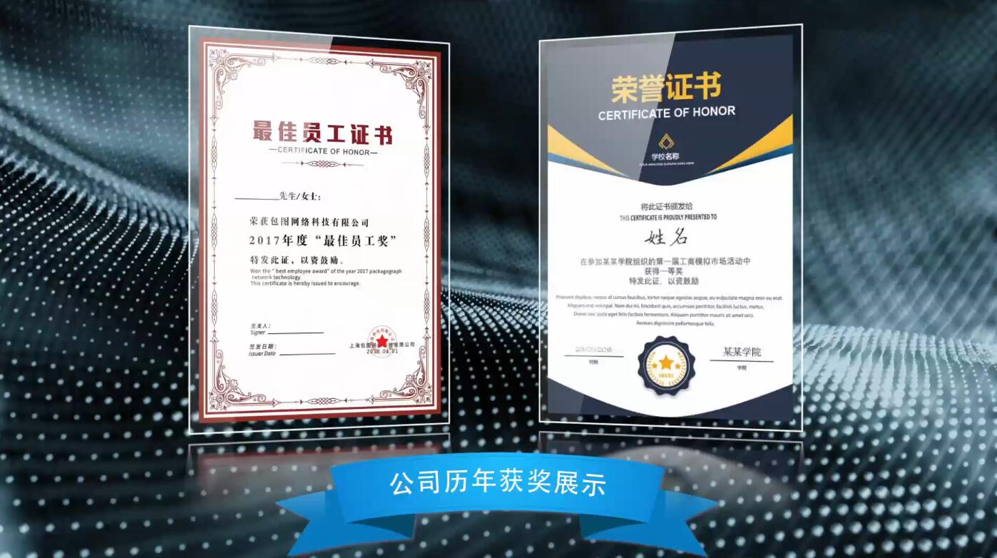 企业年度颁奖证书合集集锦AE模板