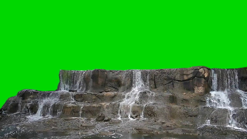 绿屏抠像流水的溪水台阶