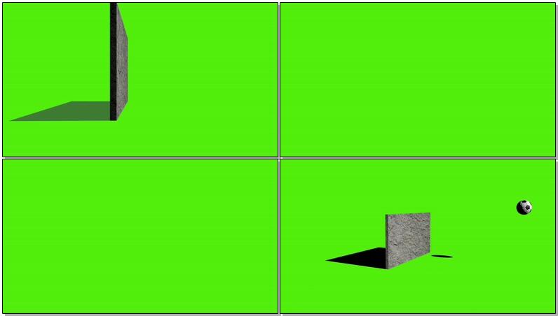 \[4K\]绿屏抠像足球撞碎墙壁