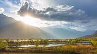 西藏自然风光 湿地 高原山区风景延时摄影