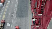 航拍香港港口码头集装箱延时摄影拍摄