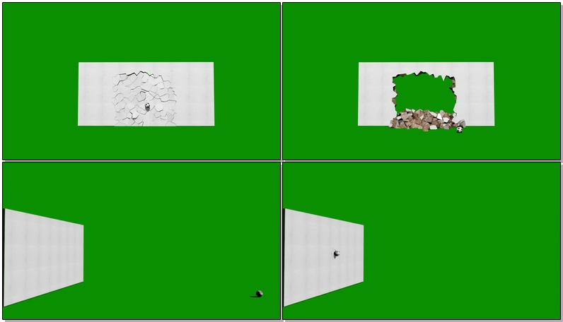 绿屏抠像被足球击碎的白色墙壁