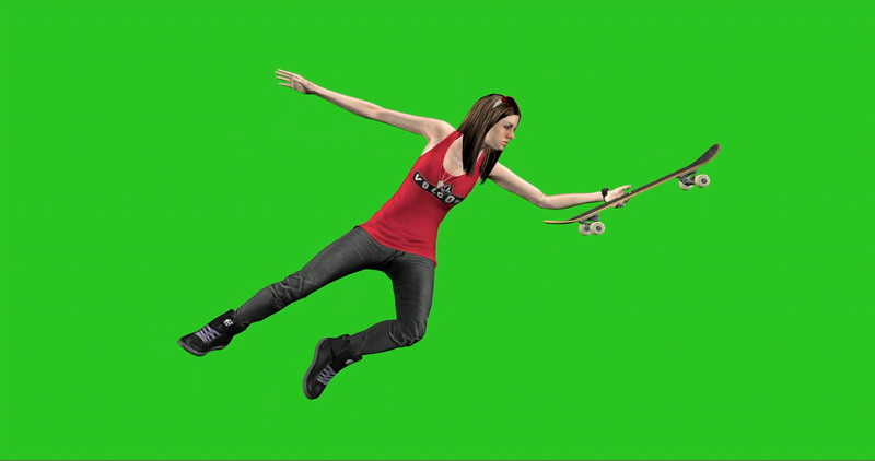 \[4K\]绿屏抠像玩滑板的女孩