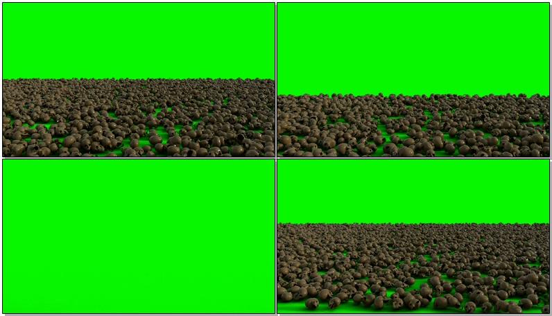 绿屏抠像一地的骷髅头