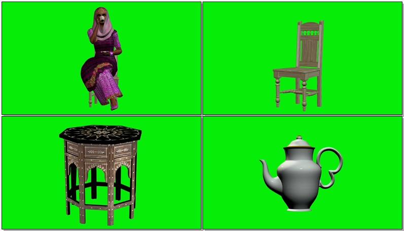 绿屏抠像喝茶的印度女人