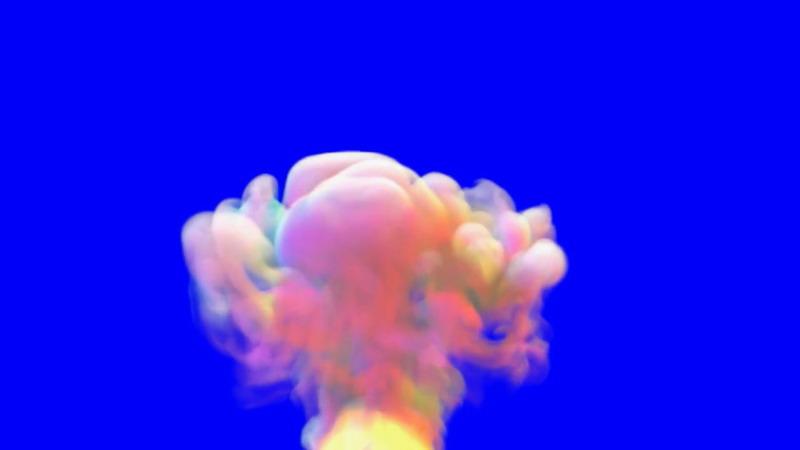 蓝屏抠像爆炸的白色蘑菇云