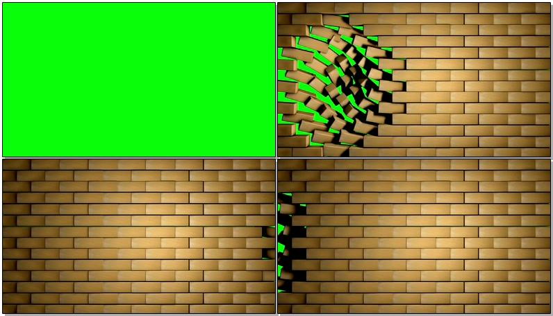 绿屏抠像砖块墙壁