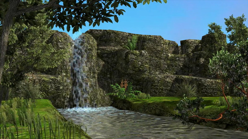 高山流水瀑布小溪片头背景
