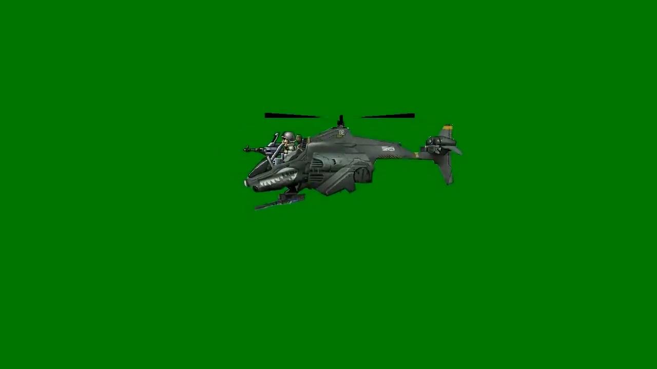绿屏抠像卡通3D直升飞机