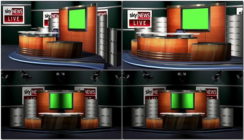 绿屏抠像新闻演播厅