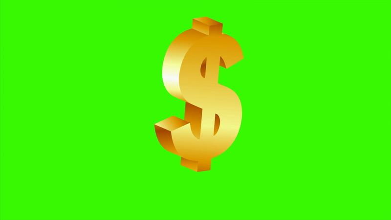\[4K\]绿屏抠像金色的美元标志