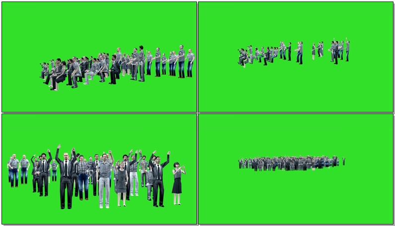 绿屏抠像T台走秀欢呼的人群