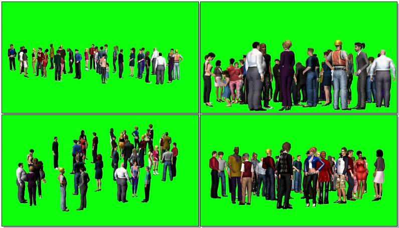 绿屏抠像交谈的人群