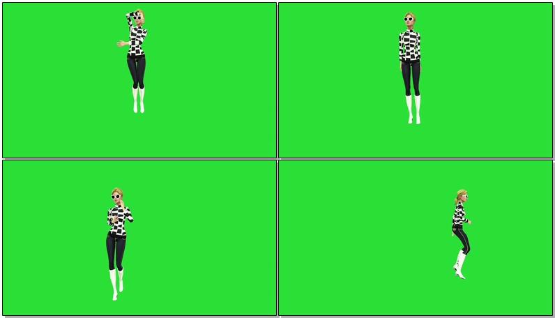 绿屏抠像跳舞的卡通女孩