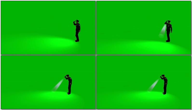 绿屏抠像拿手电筒巡视的警察