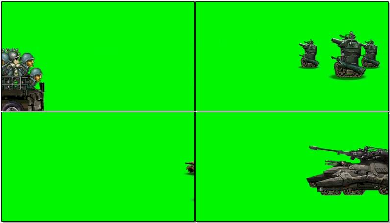 绿屏抠像游戏卡通士兵飞机坦克大炮