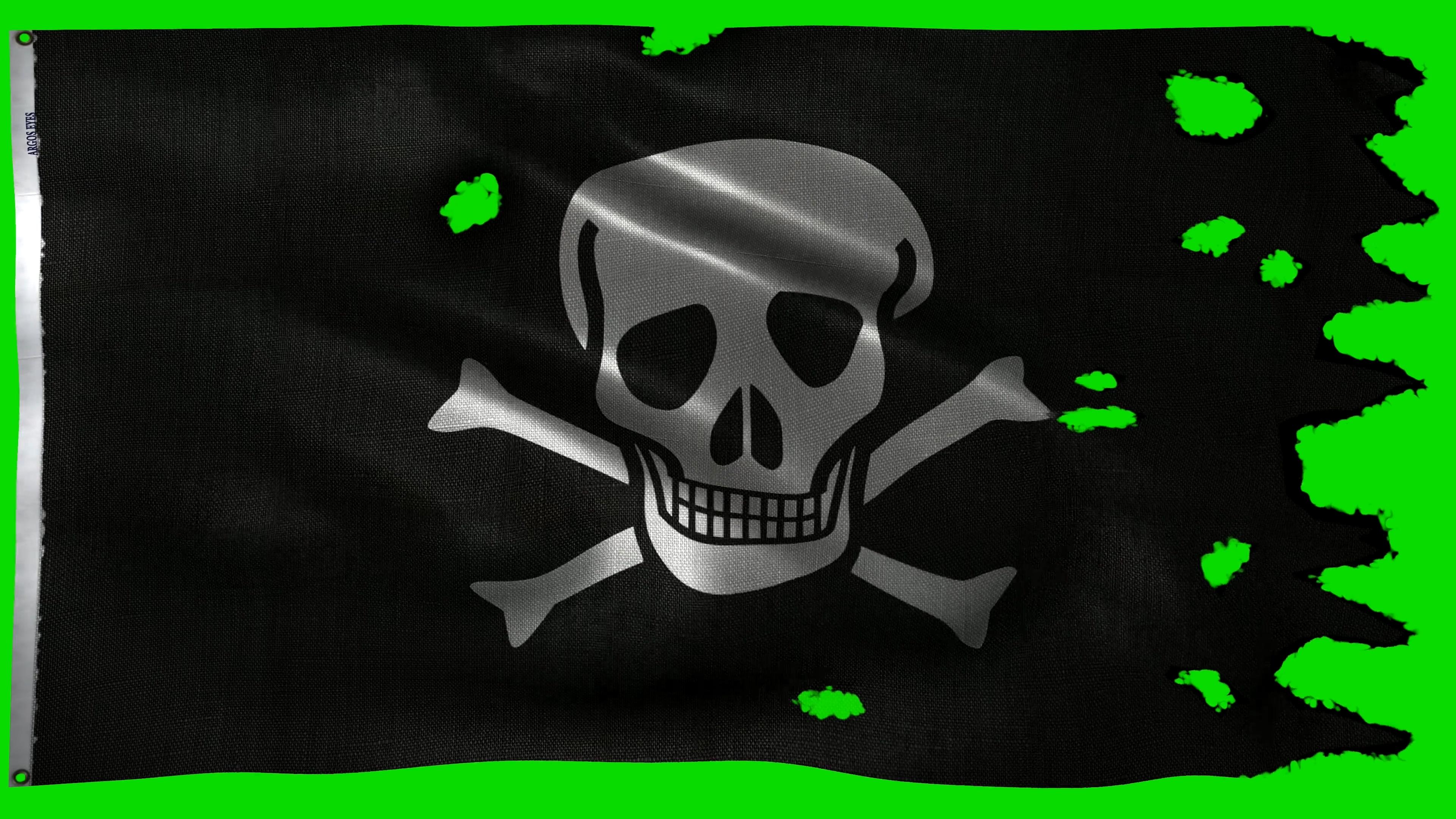 \[4K\]绿屏抠像飘扬的黑色海盗旗