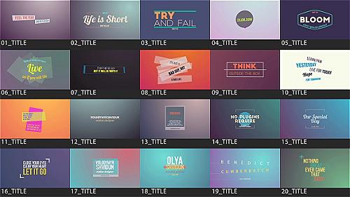 20款独特的文字动画标题AE模板 Motion Titles Pack