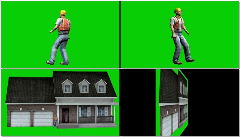 绿屏抠像工作的建筑工人