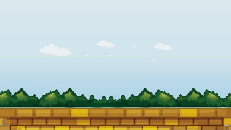 卡通蓝天白云树林围墙