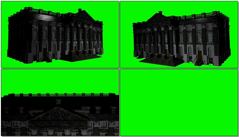 绿屏抠像庄园住宅楼建筑