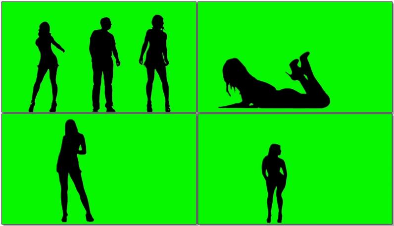 绿屏抠像跳舞人群剪影