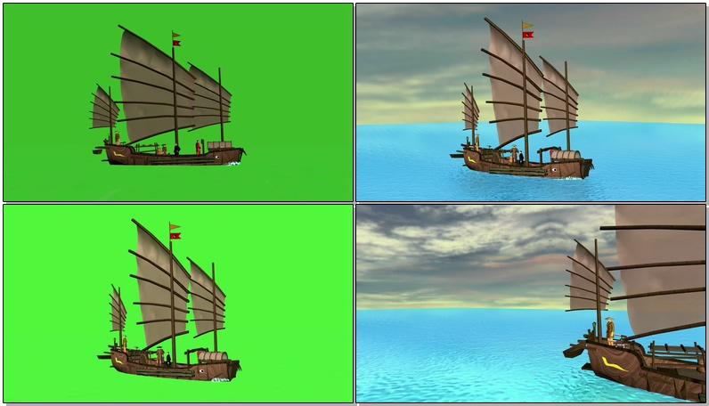 绿屏抠像古老的中国帆船