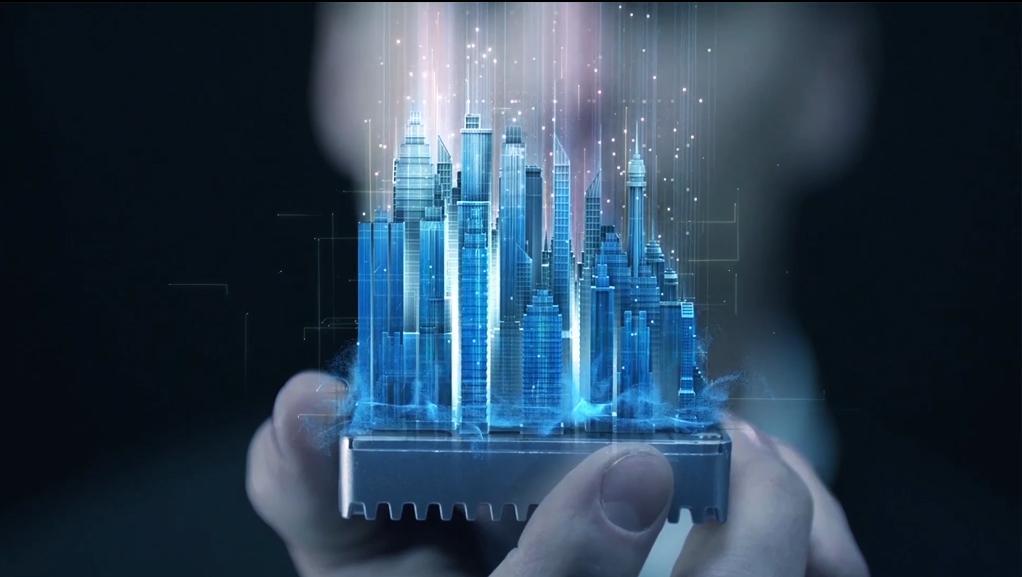 高科技房地产建筑数字全息投影展示视频素材