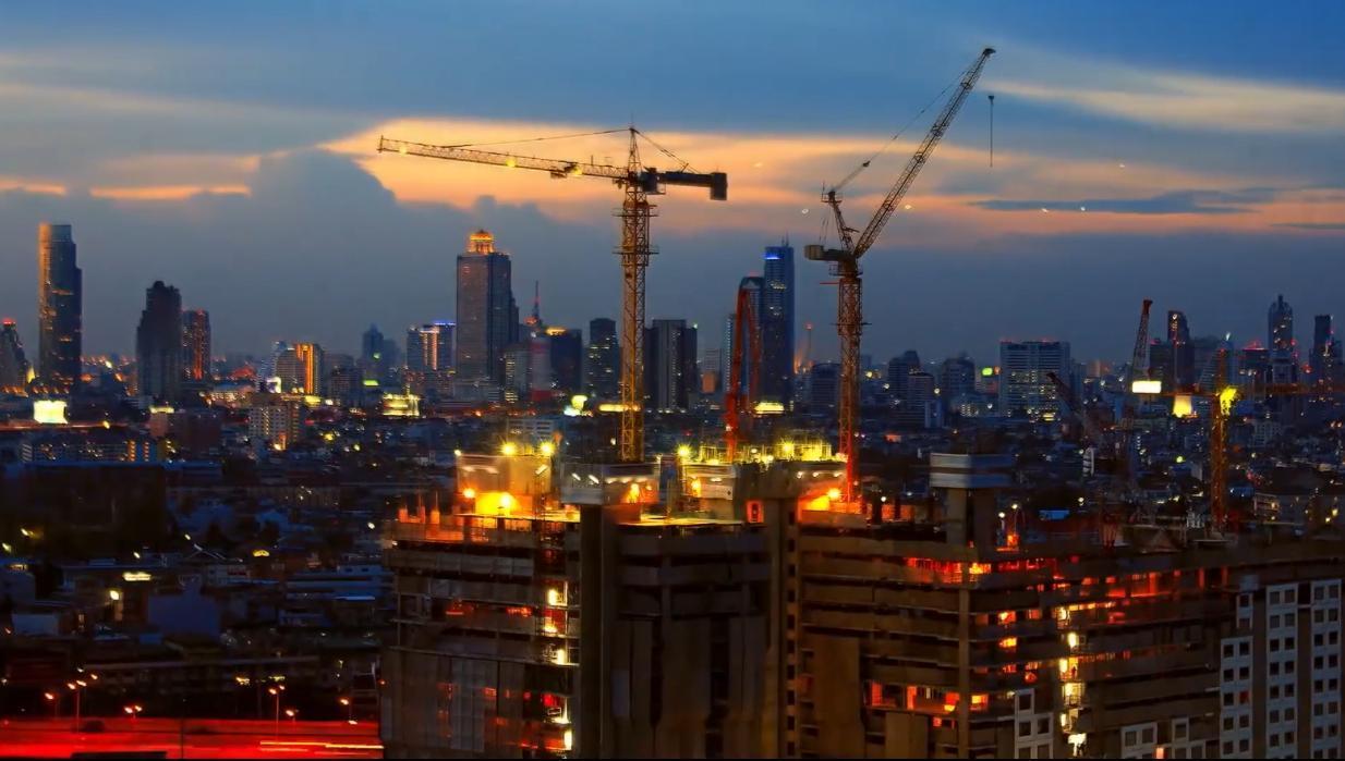 城市建筑延时摄影工程建设设计师视频素材