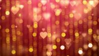 金色粒子爱心光斑舞台背景