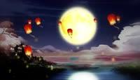 仙境月夜明灯循环背景视频