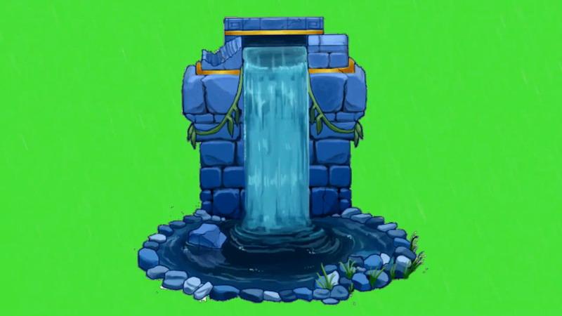 绿屏抠像卡通清泉瀑布