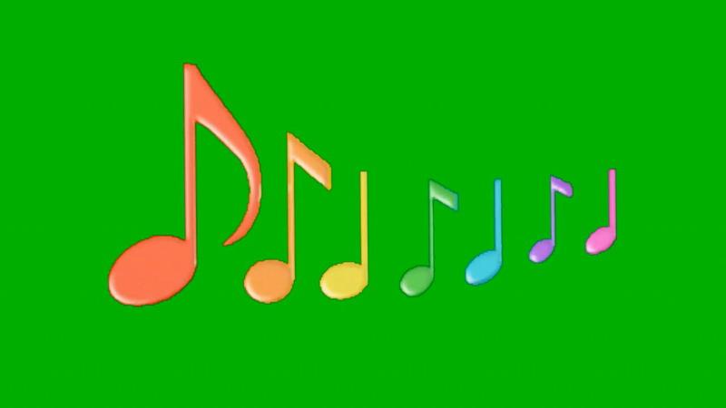 绿屏抠像跳动的七彩音符