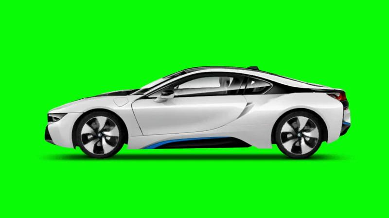 绿屏抠像白色宝马汽车