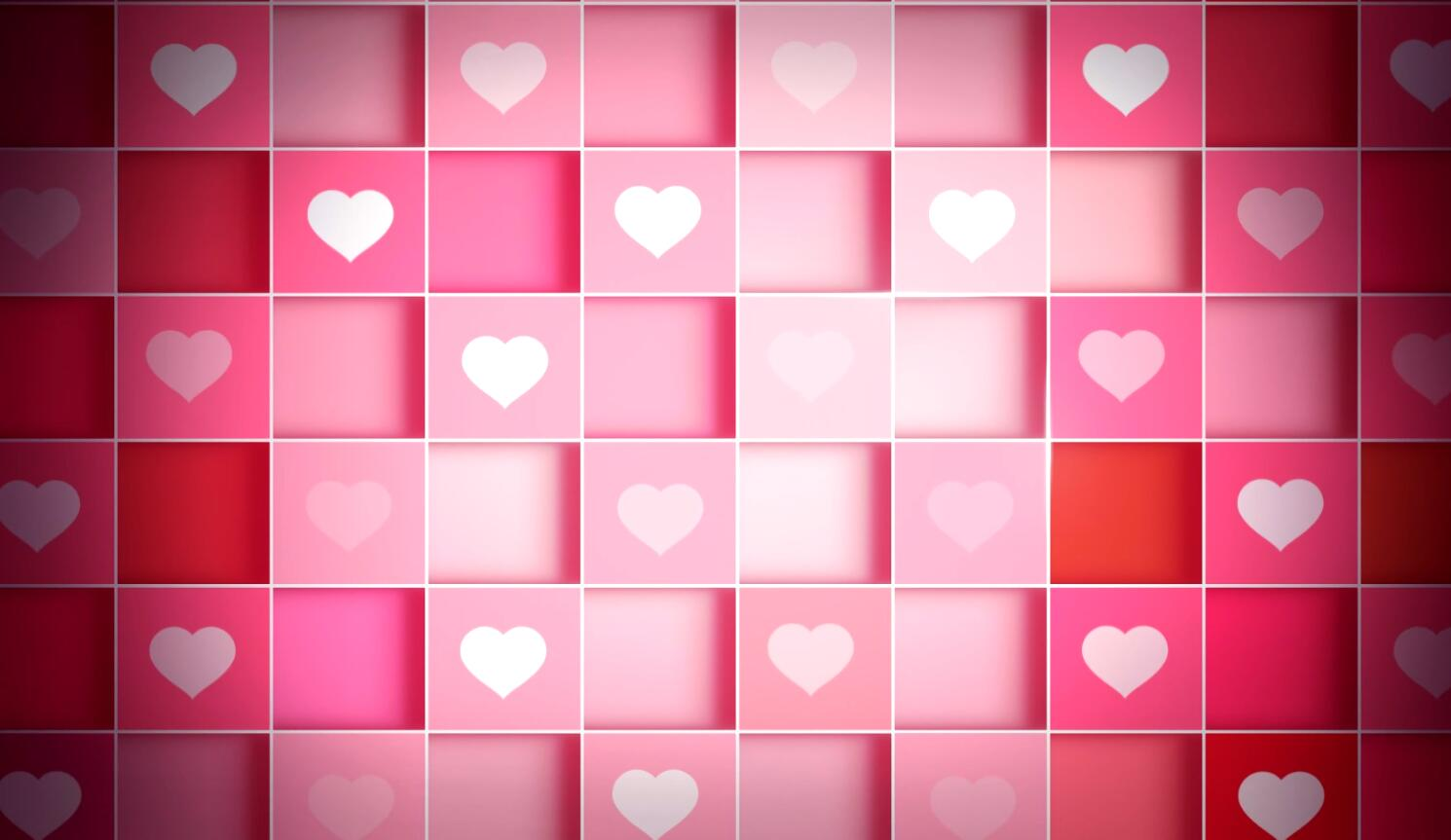 小清新爱心方格转动动态背景视频