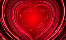 纯色浪漫爱心由远到进放射心动背景婚庆视频素材