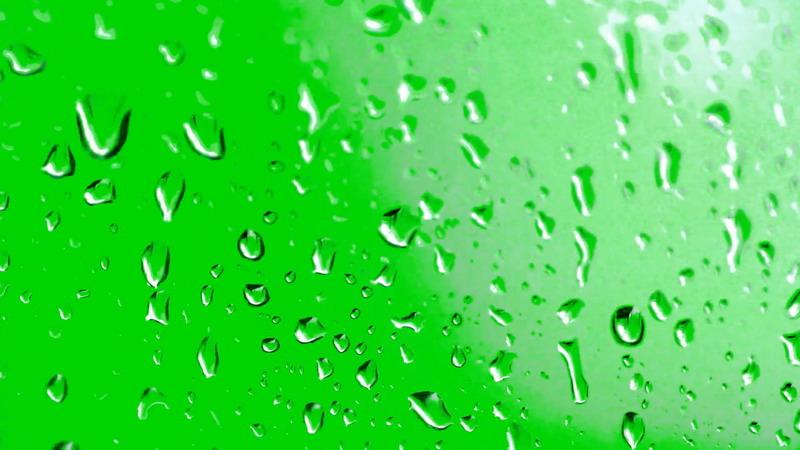 绿屏抠像玻璃上的水珠