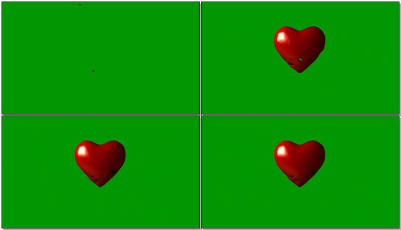绿屏抠像红色的爱心