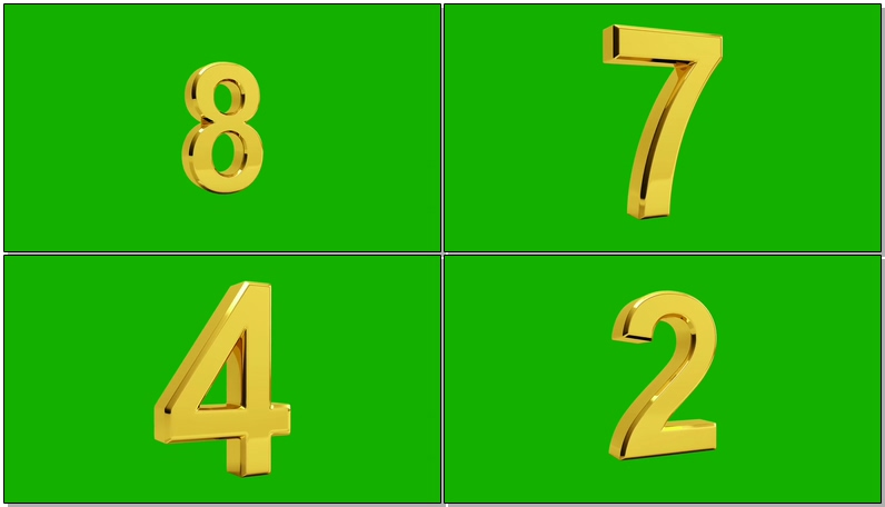 绿屏抠像黄金倒计时数字