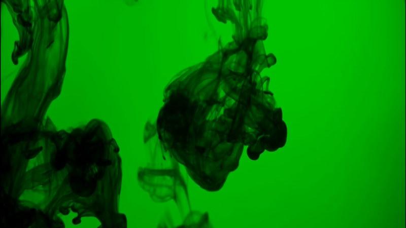 绿屏抠像黑色水墨烟雾
