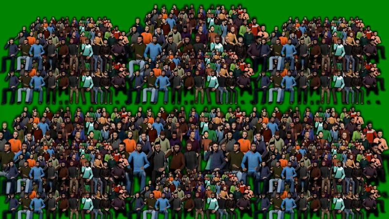 绿屏抠像观众席人群