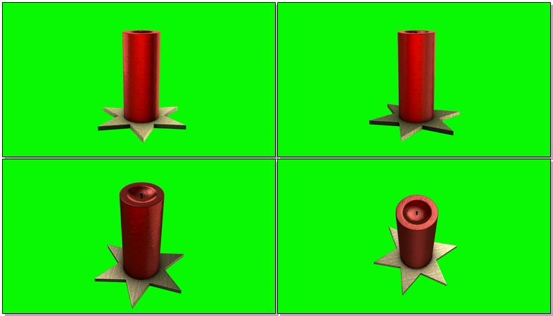 \[4K\]绿屏抠像红色圣诞蜡烛