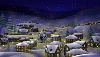雪乡下雪啦卡通背景视频素材